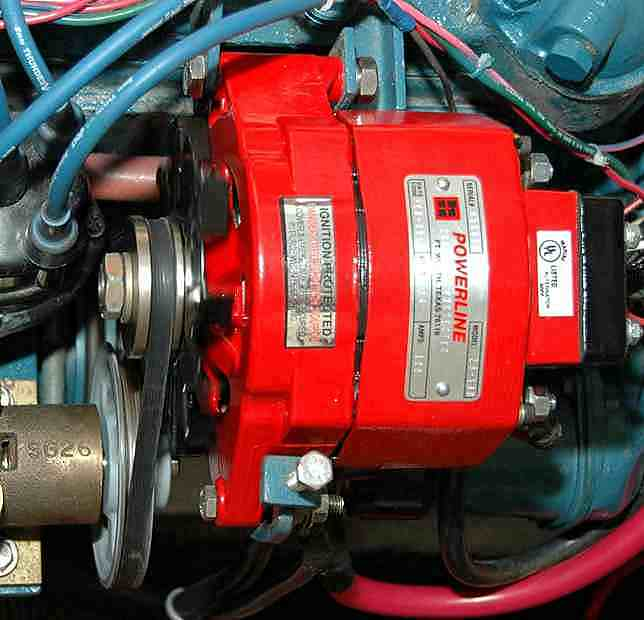 here's a picture of a high output alternator sold for atomic 4's  looks  like the same footprint